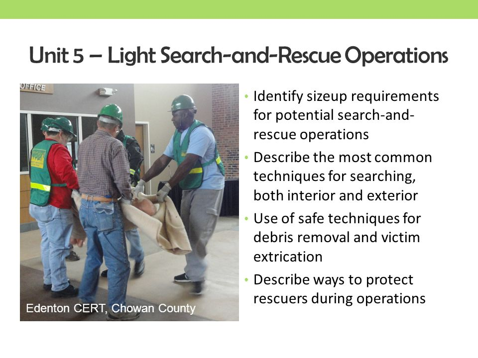 Unit 5 – Light Search-and-Rescue Operations