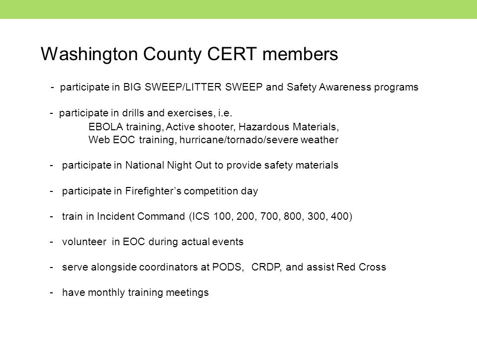Washington County CERT members