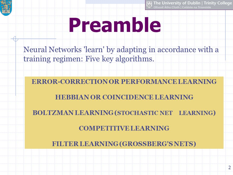 Preamble Neural Networks learn by adapting in accordance with a training regimen: Five key algorithms.