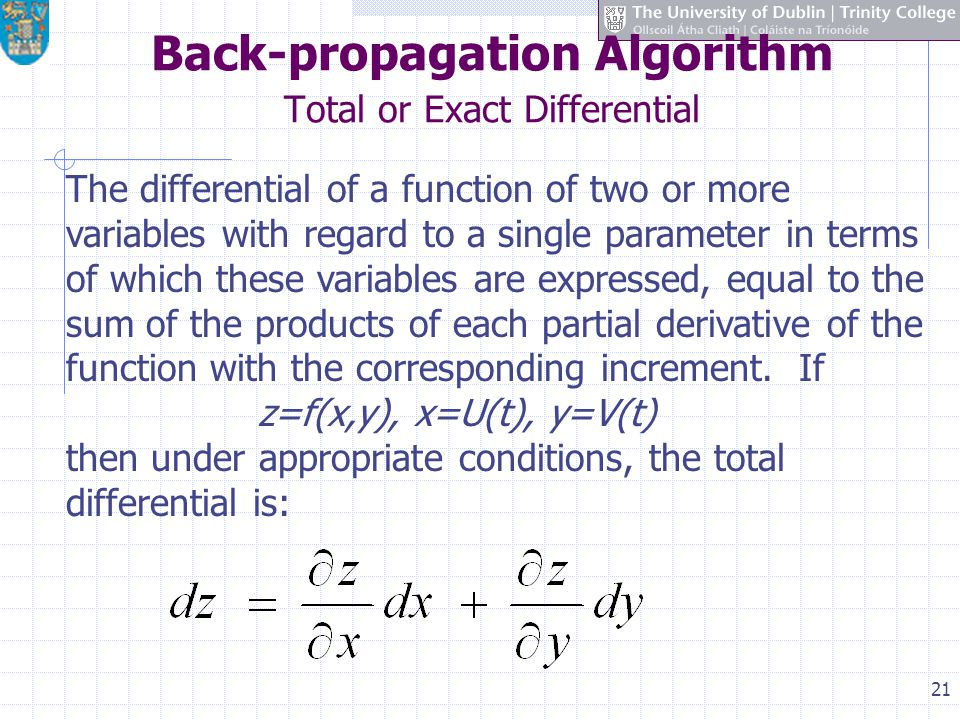 Back-propagation Algorithm Total or Exact Differential