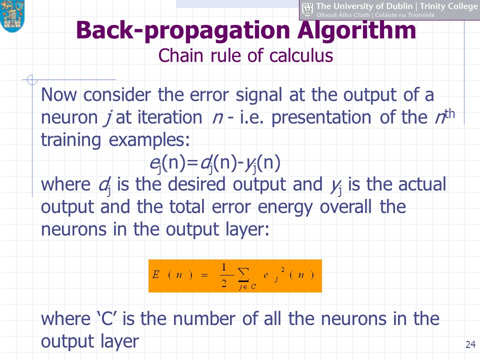 Back-propagation Algorithm Chain rule of calculus
