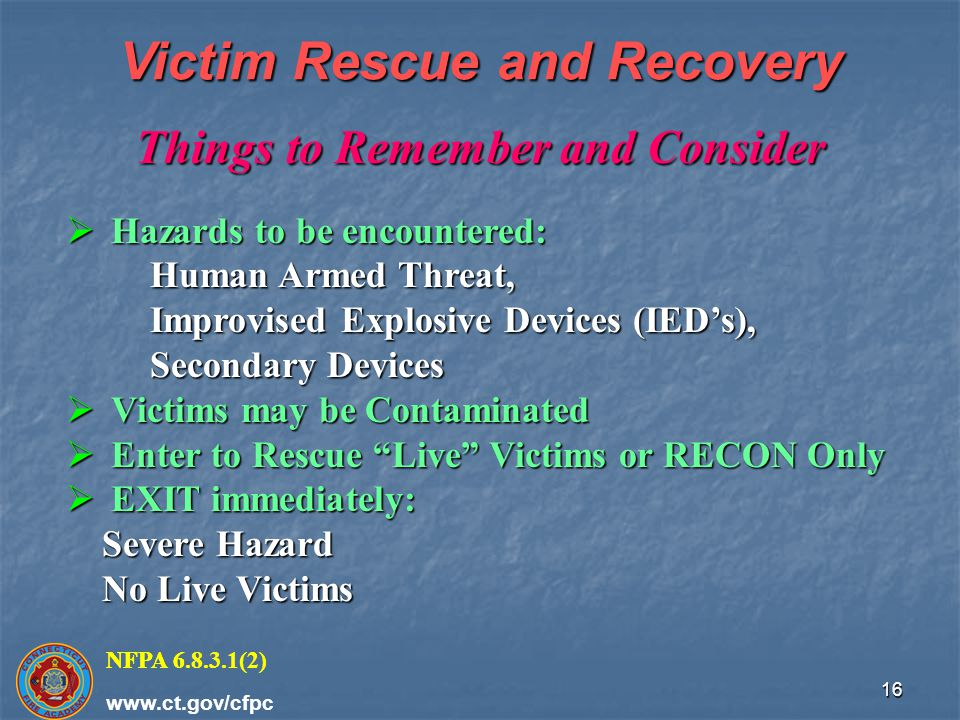 Victim Rescue and Recovery Things to Remember and Consider
