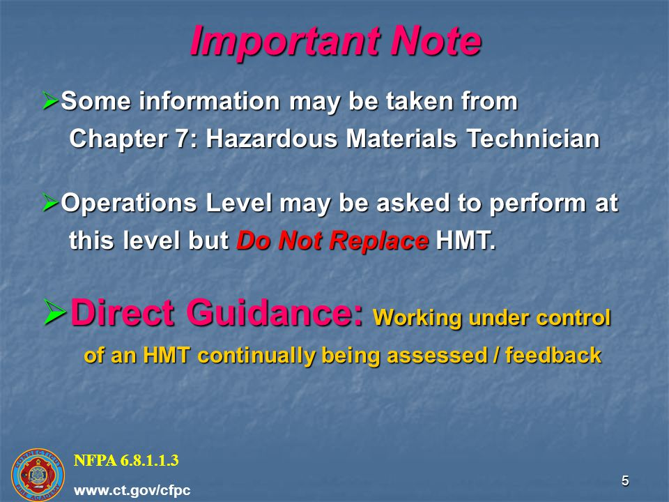 Important Note Direct Guidance: Working under control