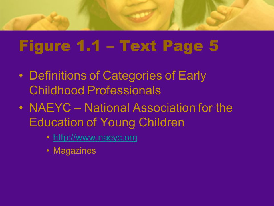 Figure 1.1 – Text Page 5 Definitions of Categories of Early Childhood Professionals.