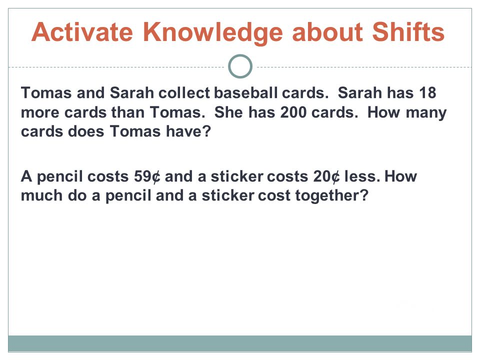 Activate Knowledge about Shifts