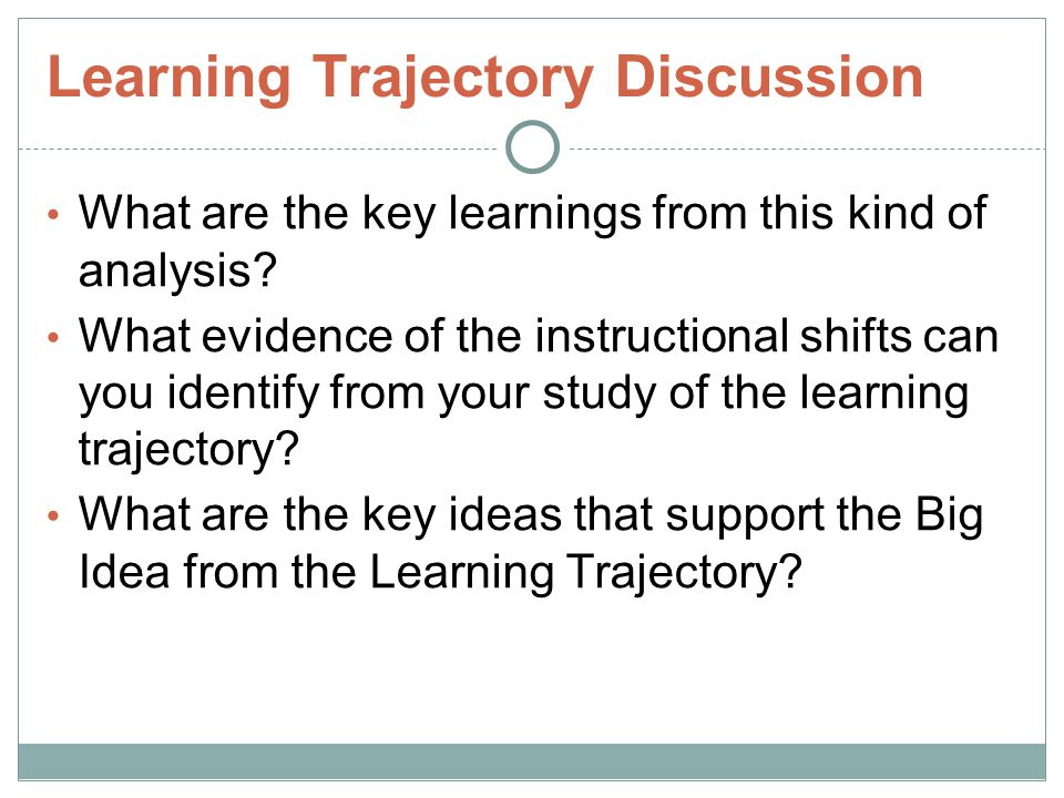 Learning Trajectory Discussion