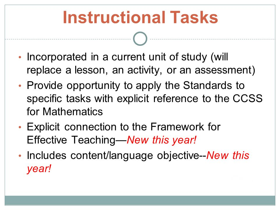 Instructional Tasks Incorporated in a current unit of study (will replace a lesson, an activity, or an assessment)