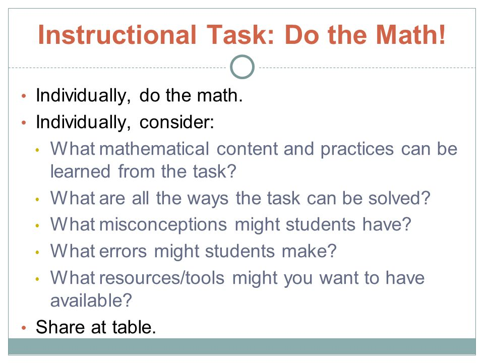 Instructional Task: Do the Math!