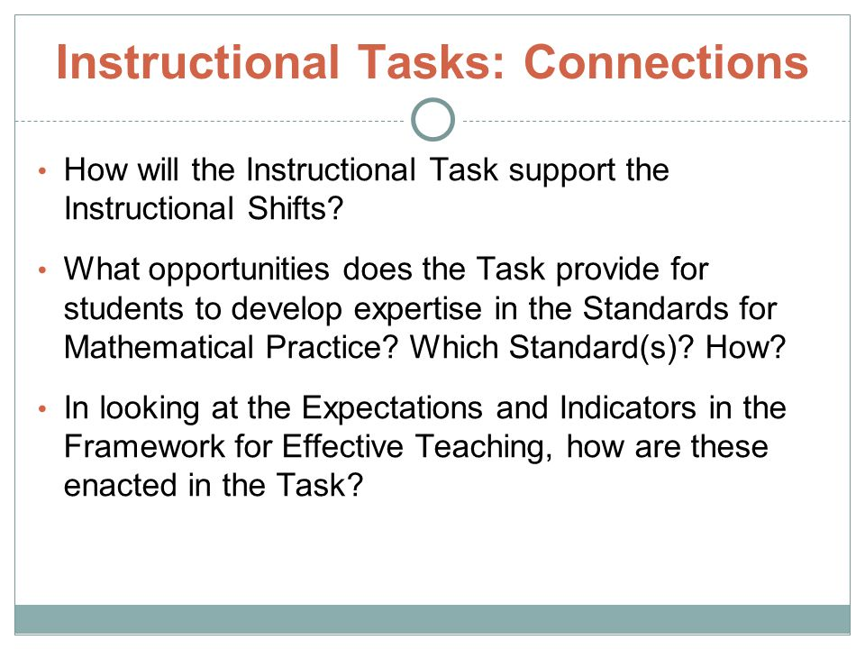 Instructional Tasks: Connections