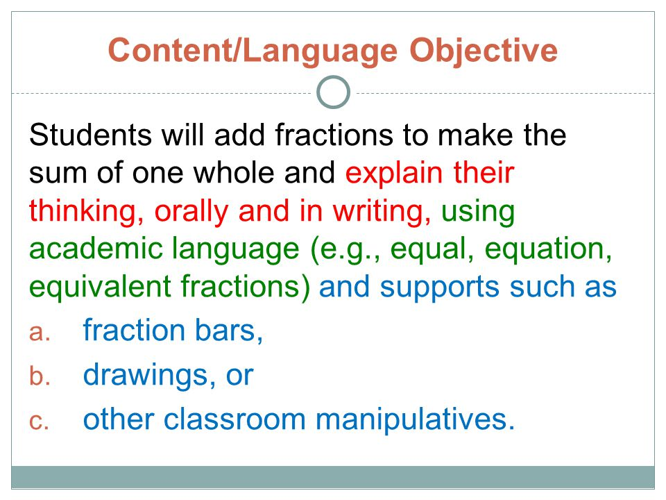 Content/Language Objective