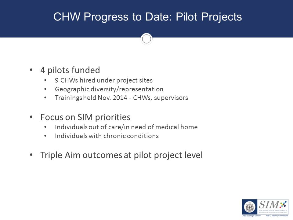 CHW Progress to Date: Pilot Projects