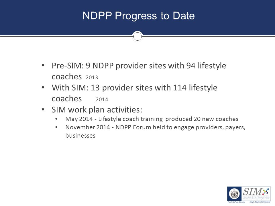 NDPP Progress to Date Pre-SIM: 9 NDPP provider sites with 94 lifestyle coaches