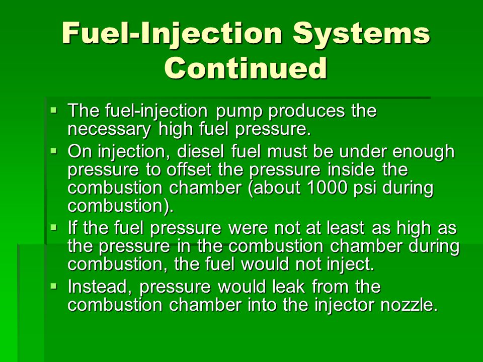 Fuel-Injection Systems Continued