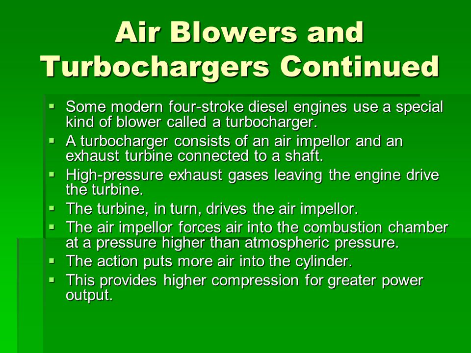 Air Blowers and Turbochargers Continued
