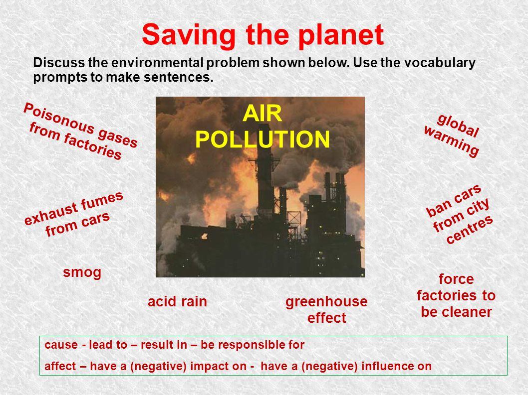 Saving the planet AIR POLLUTION Poisonous gases from factories