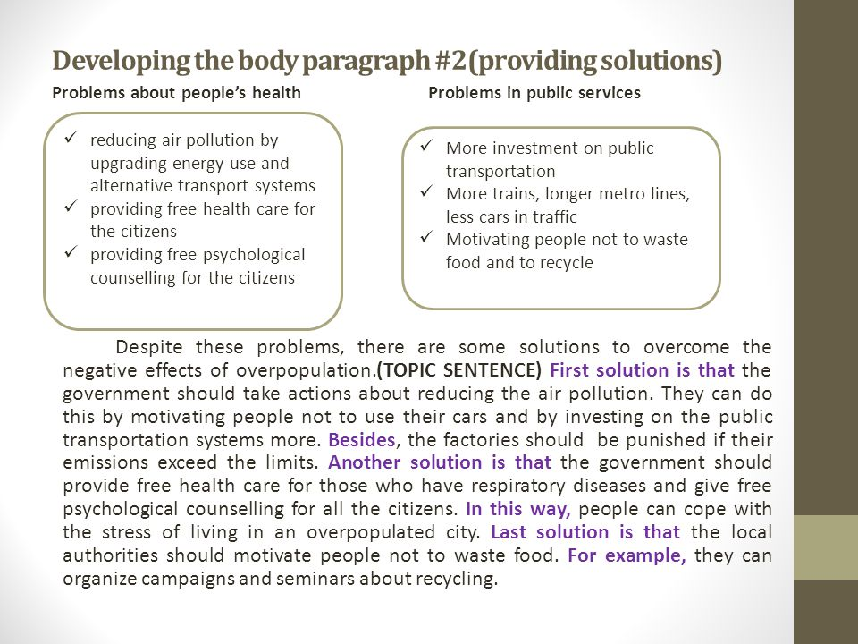 Developing The Body Paragraph 2providing Solutions