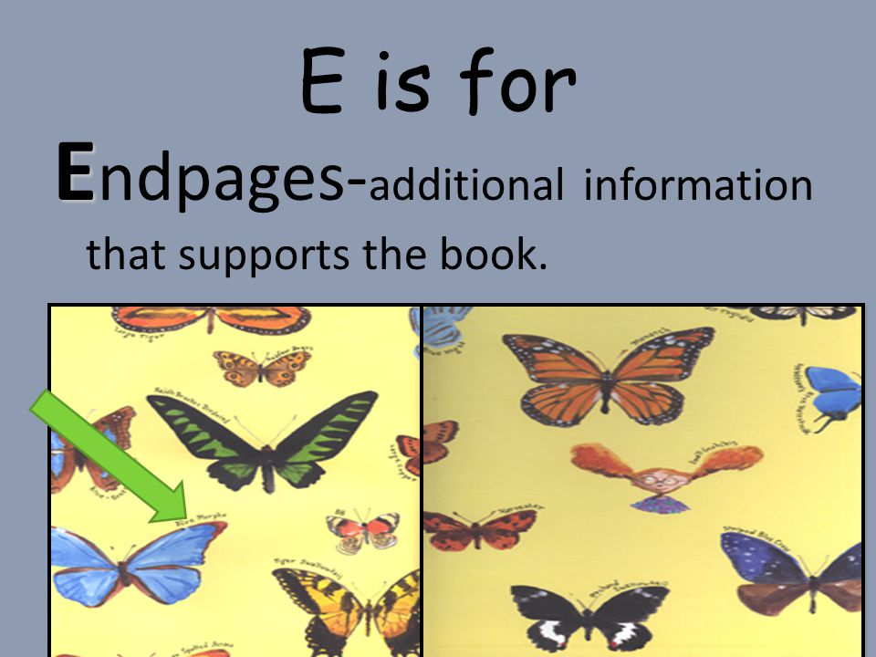 Endpages-additional information that supports the book.