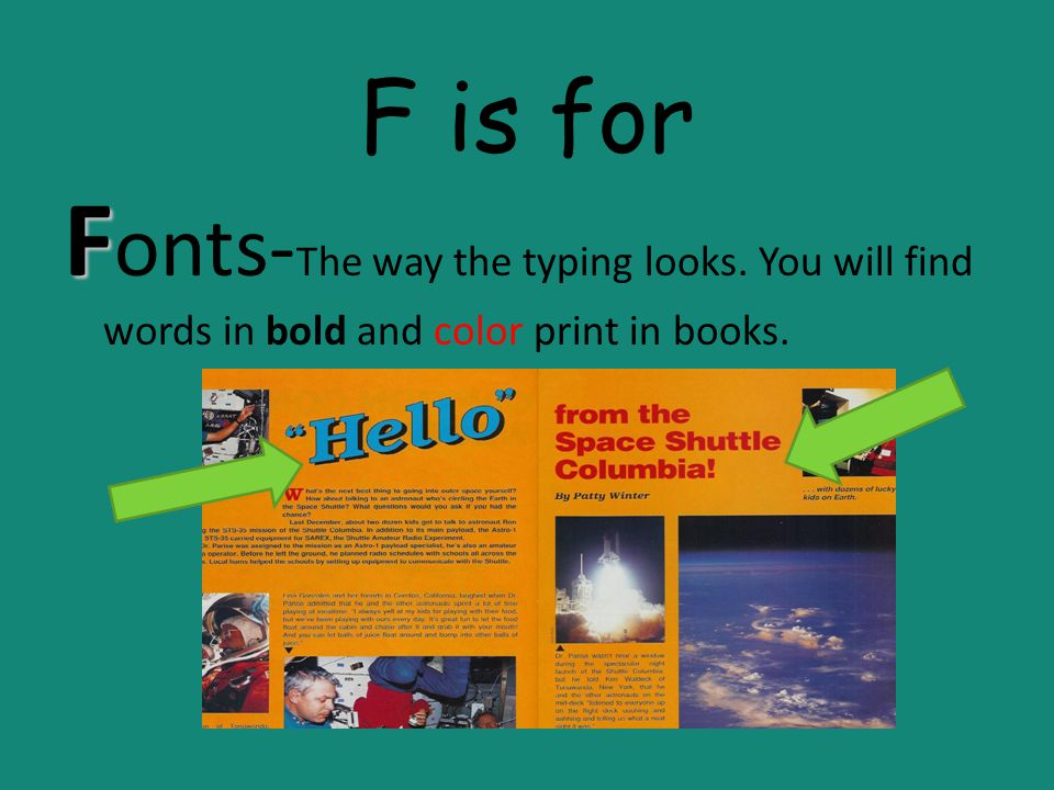 F is for Fonts-The way the typing looks. You will find words in bold and color print in books.