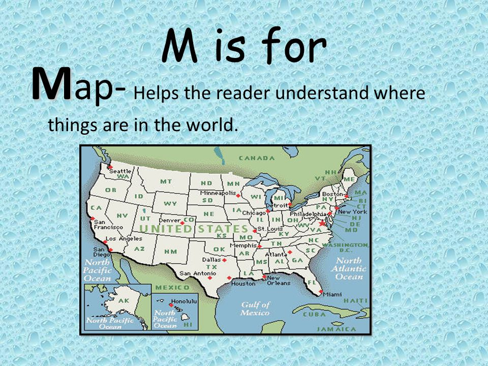 Map- Helps the reader understand where things are in the world.