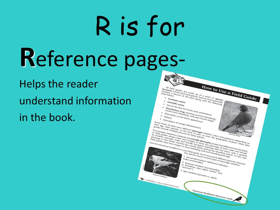 Reference pages- R is for Helps the reader understand information