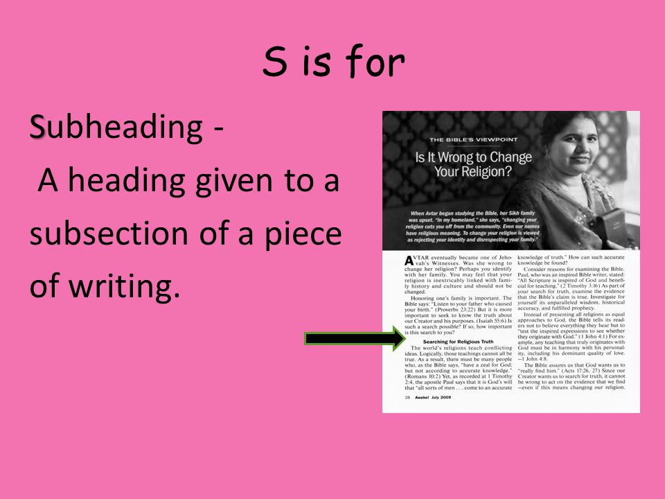 S is for Subheading - A heading given to a subsection of a piece of writing.