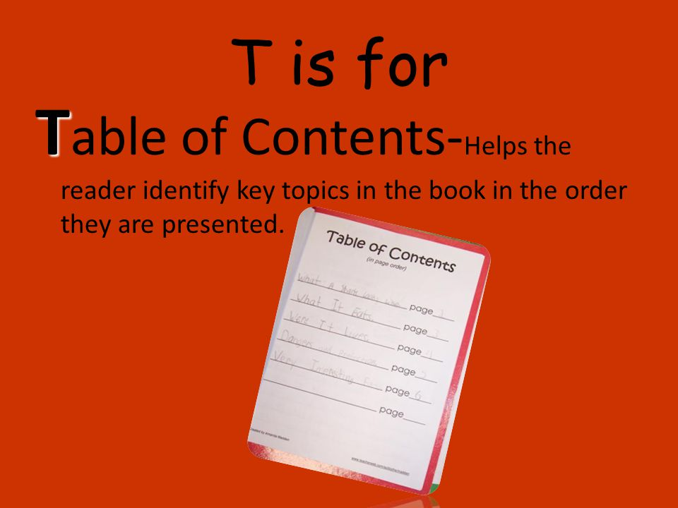 T is for Table of Contents-Helps the reader identify key topics in the book in the order they are presented.