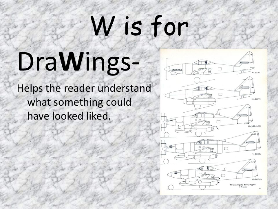 W is for DraWings- Helps the reader understand what something could have looked liked.