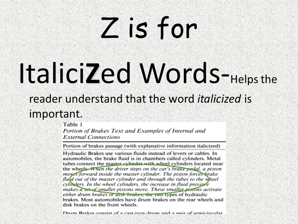 Z is for ItaliciZed Words-Helps the reader understand that the word italicized is important.