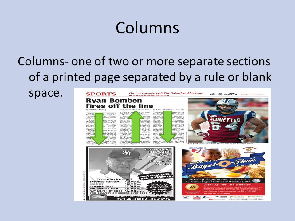 Columns Columns- one of two or more separate sections of a printed page separated by a rule or blank space.
