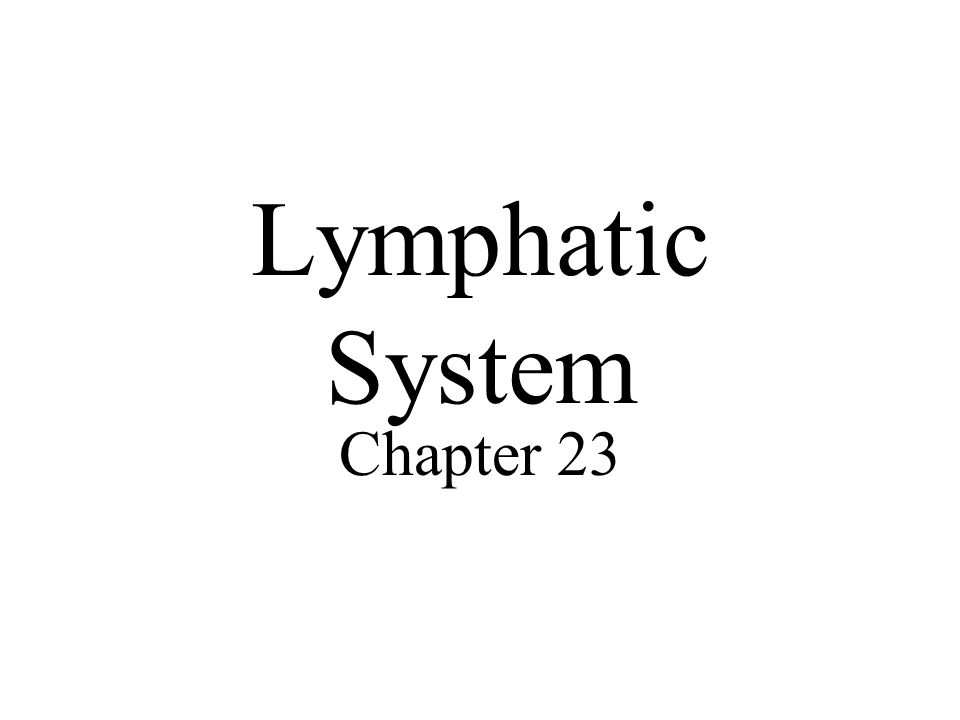 Lymphatic System Chapter 23