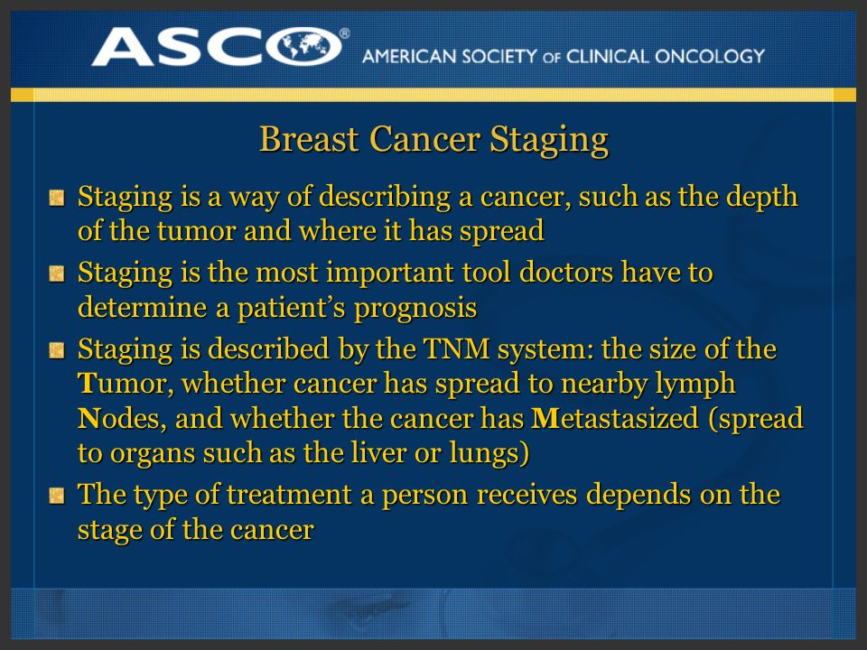 Breast Cancer Staging Staging is a way of describing a cancer, such as the depth of the tumor and where it has spread.