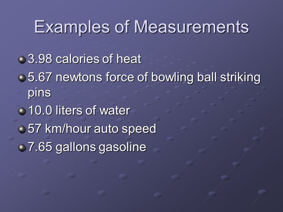 Examples of Measurements
