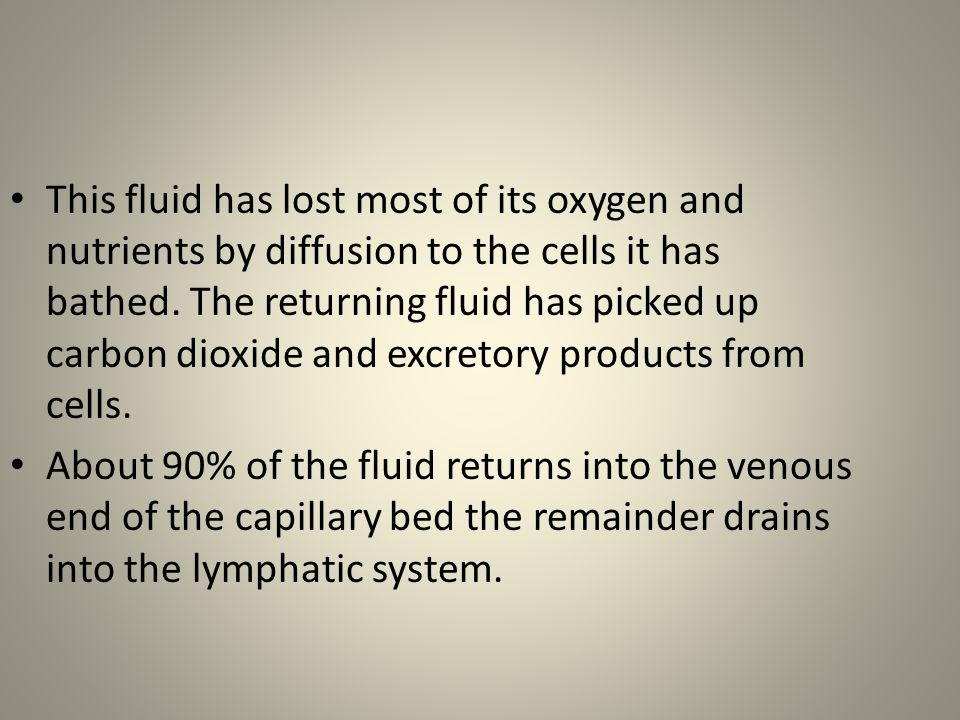 This fluid has lost most of its oxygen and nutrients by diffusion to the cells it has bathed. The returning fluid has picked up carbon dioxide and excretory products from cells.