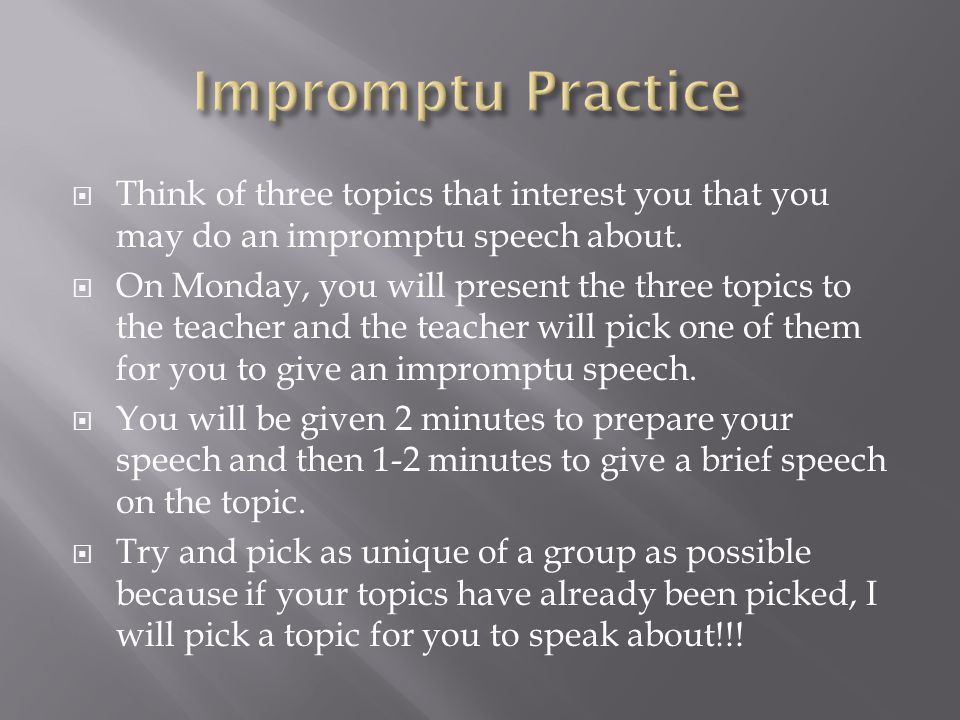 give some topics for speech