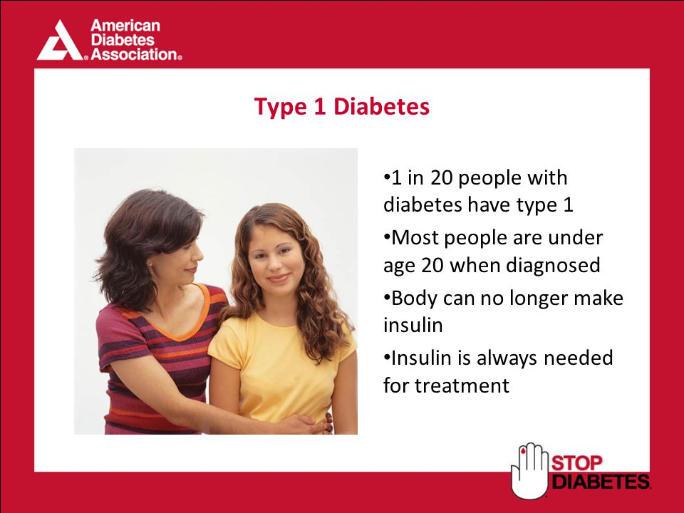 Type 1 Diabetes 1 in 20 people with diabetes have type 1