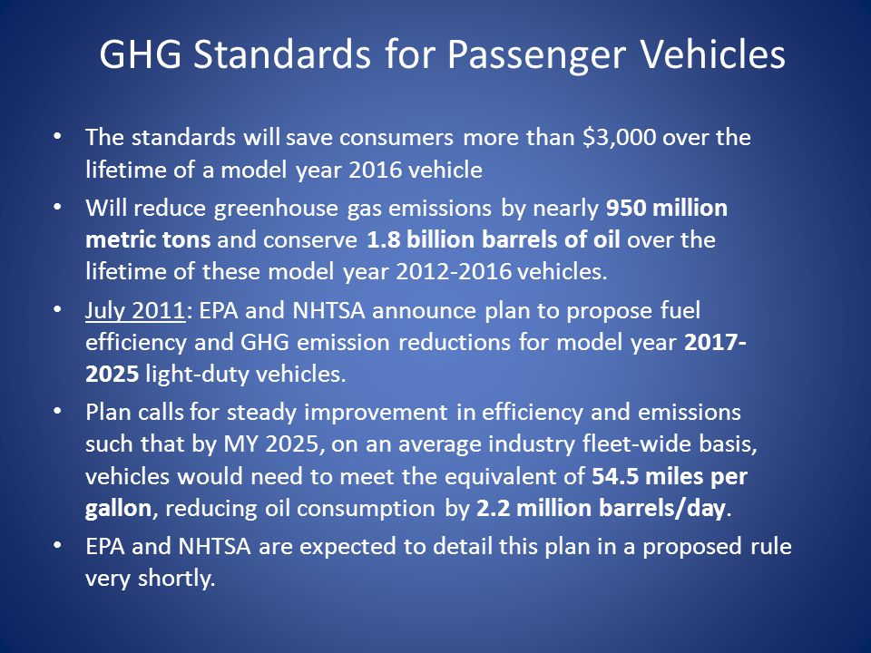 GHG Standards for Passenger Vehicles