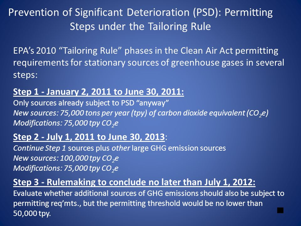 Prevention of Significant Deterioration (PSD): Permitting Steps under the Tailoring Rule