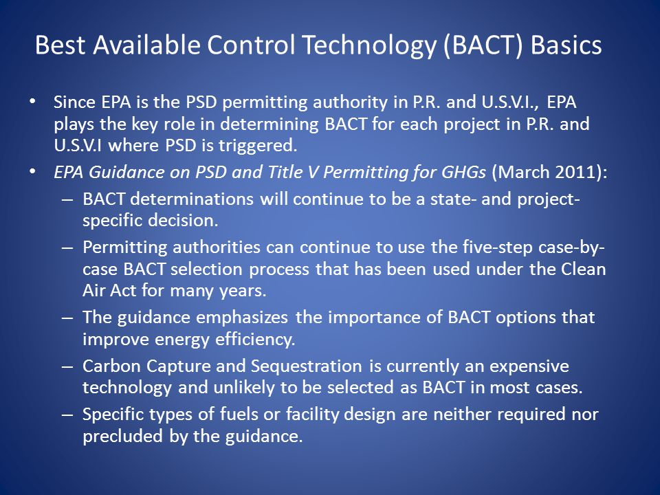 Best Available Control Technology (BACT) Basics
