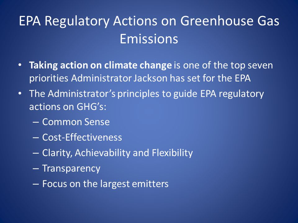 EPA Regulatory Actions on Greenhouse Gas Emissions