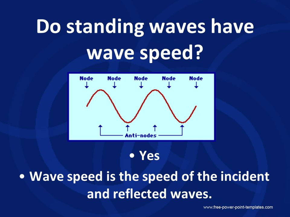 Do standing waves have wave speed