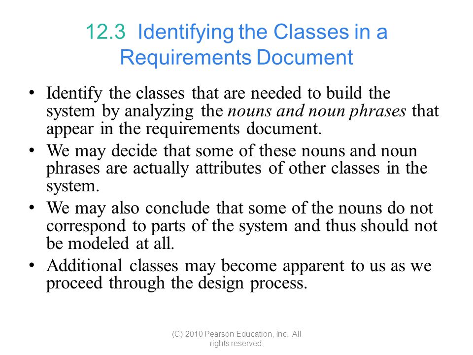12.3 Identifying the Classes in a Requirements Document