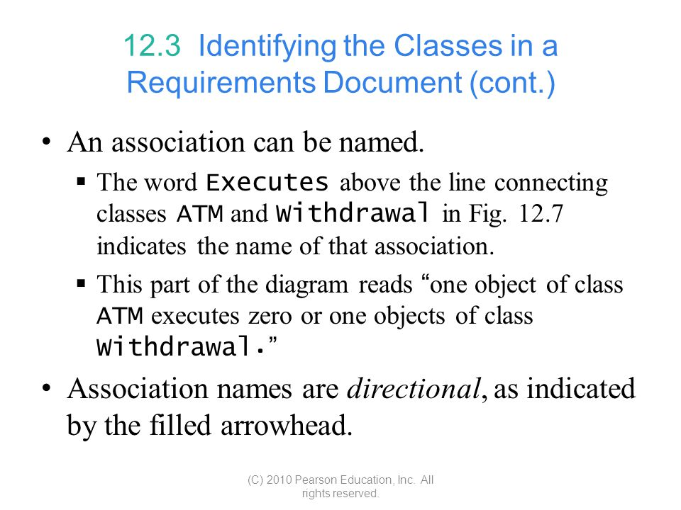 12.3 Identifying the Classes in a Requirements Document (cont.)