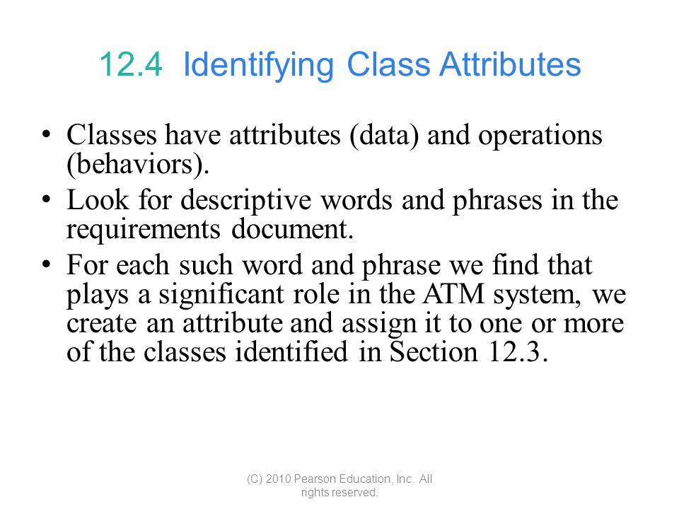 12.4 Identifying Class Attributes