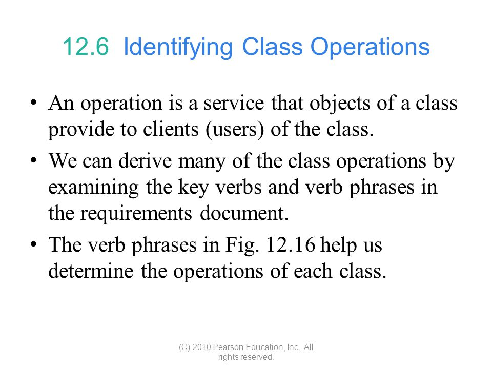 12.6 Identifying Class Operations