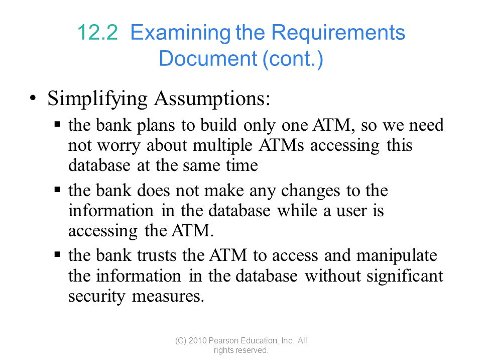 12.2 Examining the Requirements Document (cont.)