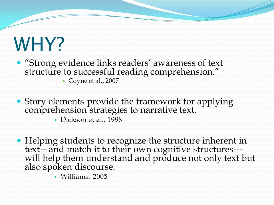 WHY Strong evidence links readers' awareness of text structure to successful reading comprehension.