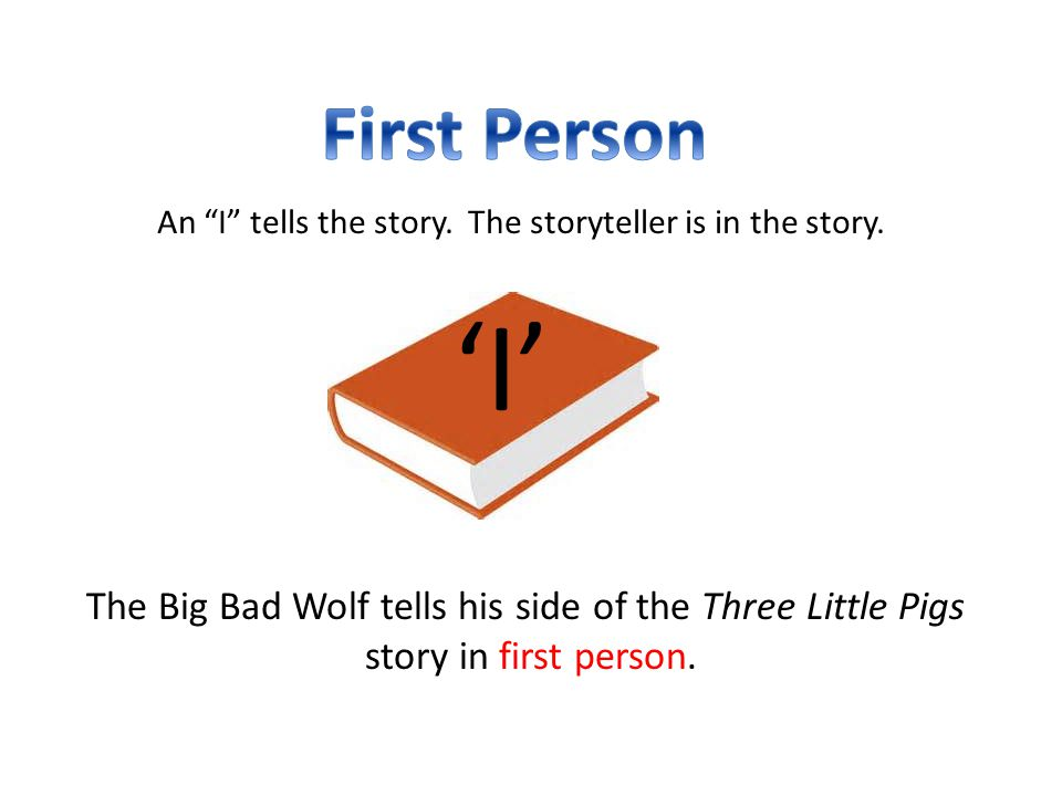 First Person An I Tells The Story The Storyteller Is In The Story E I E The Big Bad Wolf Tells His Side Of The Three Little Pigs on Exposition Of The Three Little Pigs