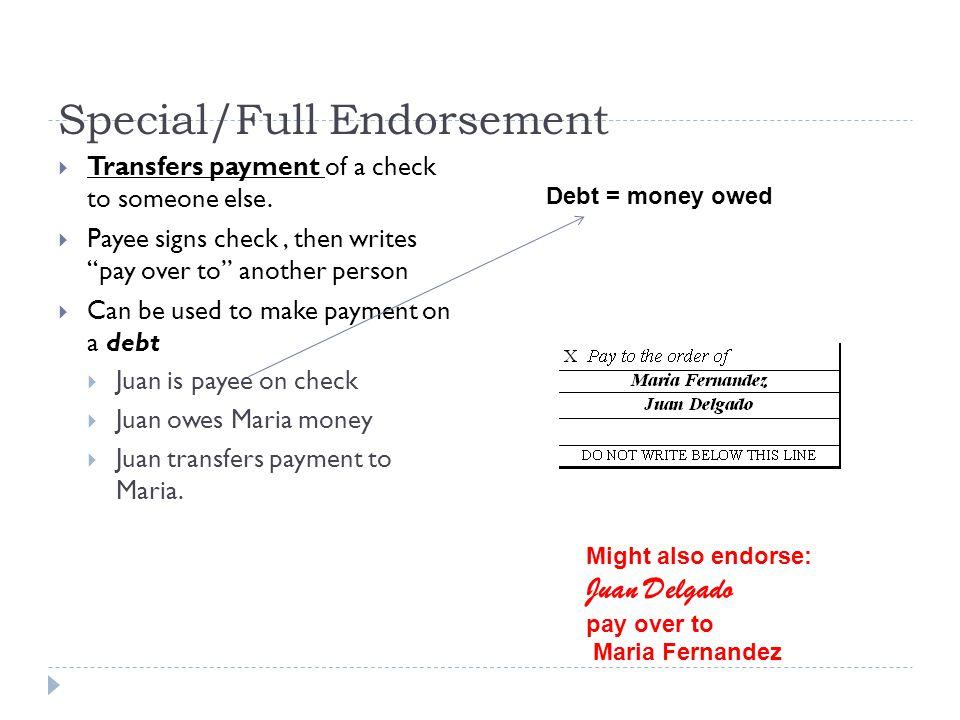 special endorsement example