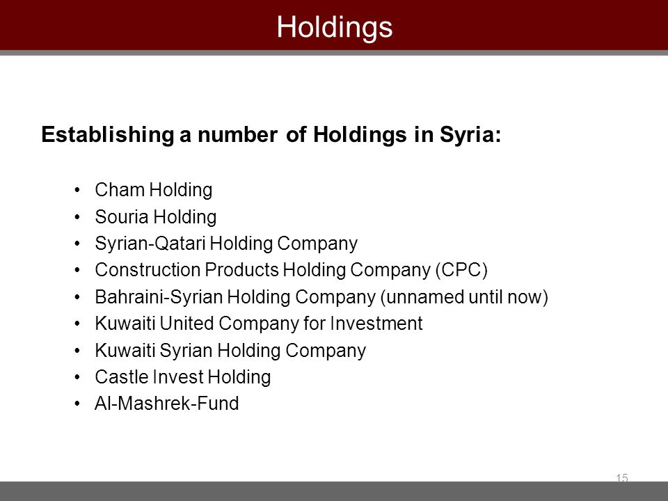 Holdings Establishing a number of Holdings in Syria: Cham Holding