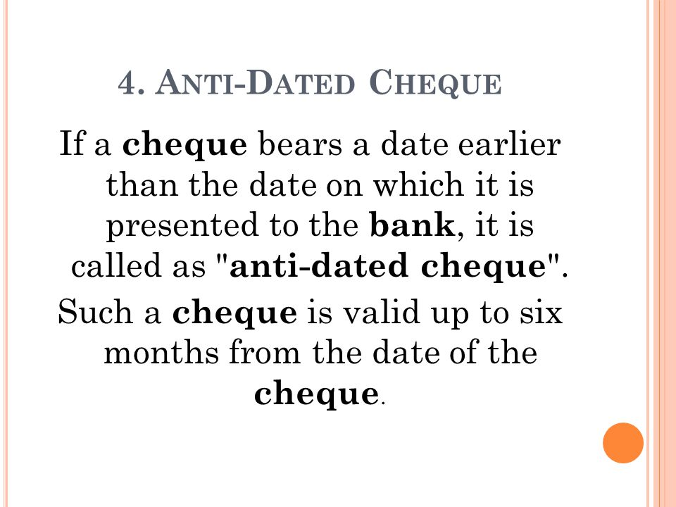 What does post dating a cheque mean